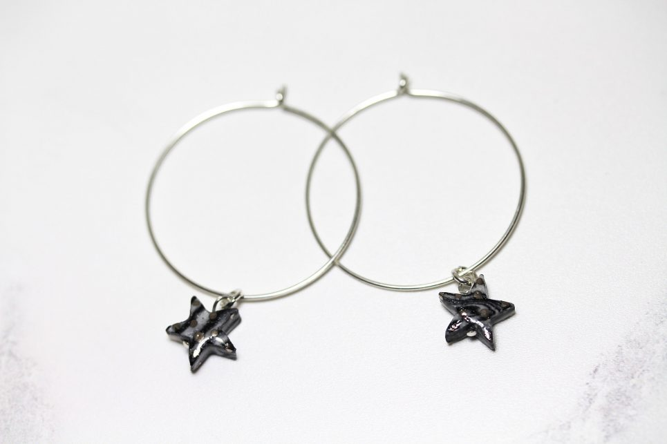Black and White Silver Star Hoops