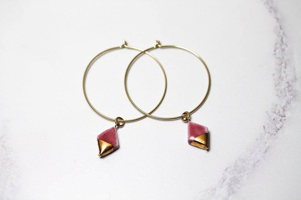 Pink and Gold Diamond Hoops