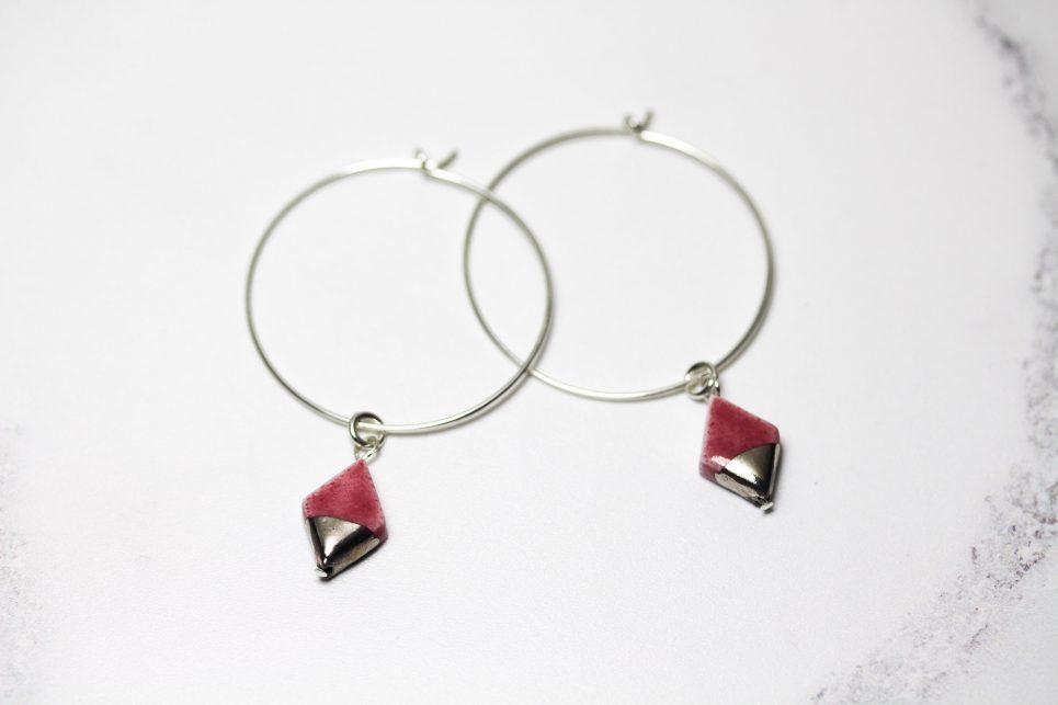 Pink and Silver Diamond Hoop Earrings