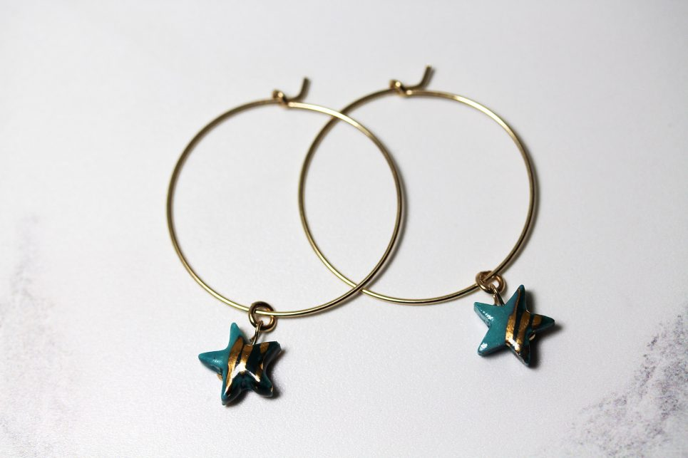 Turquoise and Gold Hoops
