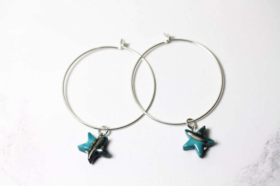 Turquoise and Silver Star Hoops