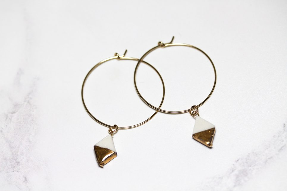 White and Gold Diamond Hoops
