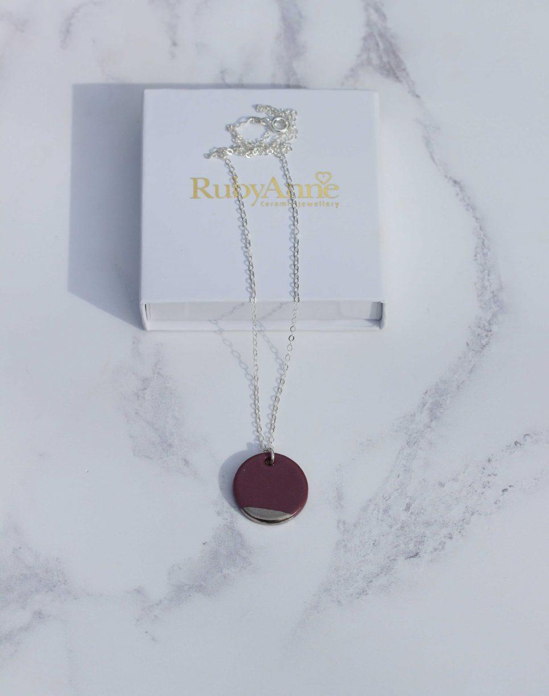Circle, Horizon Necklace. Dusky Mauve, White Gold dip